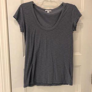 Women's James Perse Scoop Neck T-shirt Blue Size 3